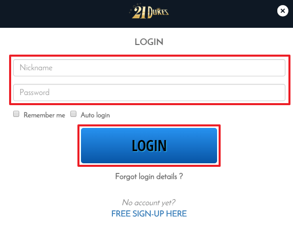 21 Dukes Casino Login