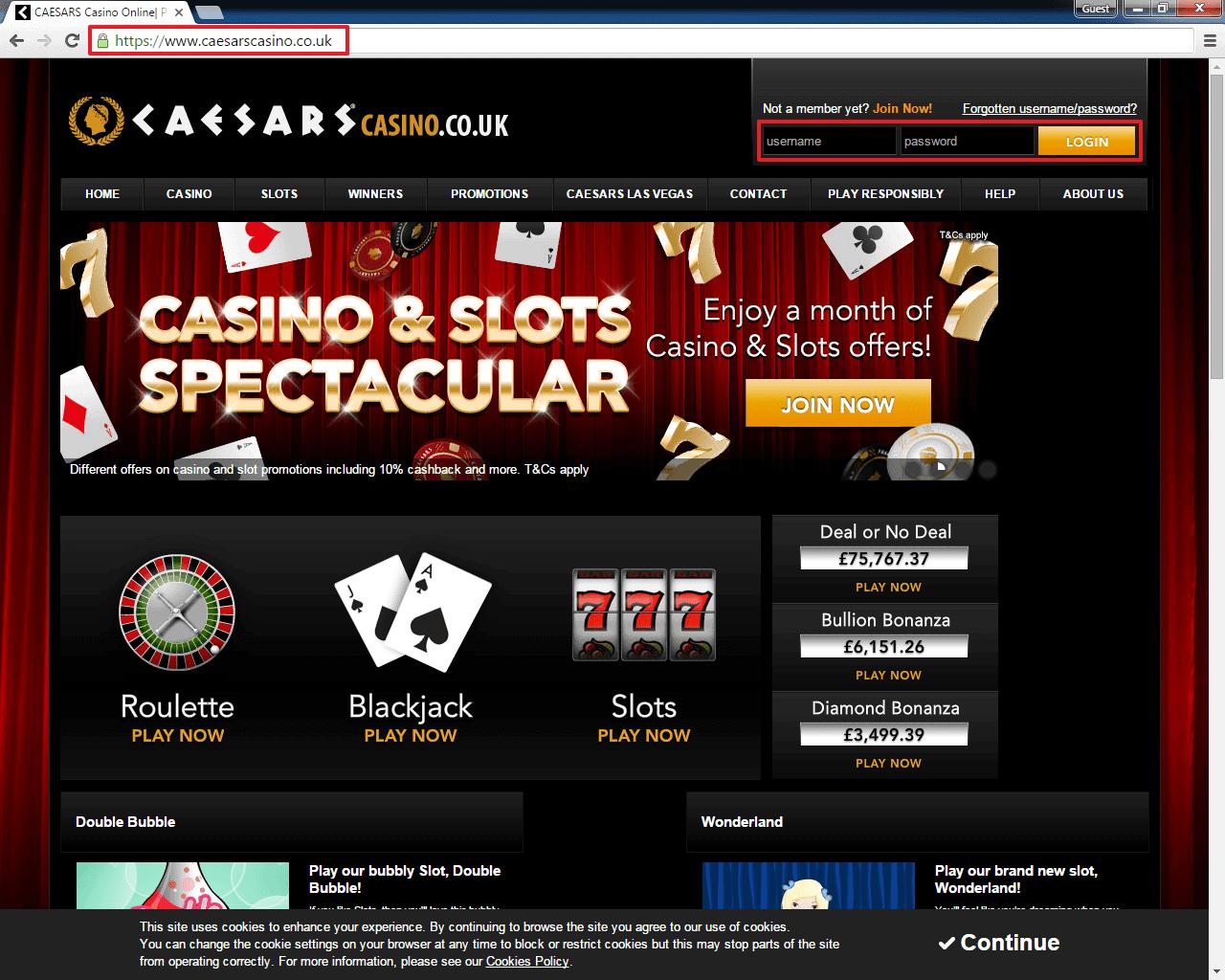 Caesars Casino login