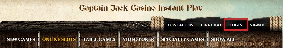 Captain Jack Casino login 2