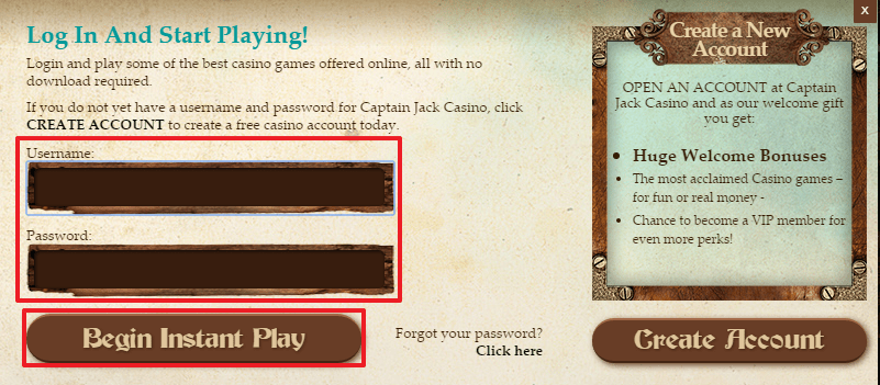 Captain Jack Casino login 3