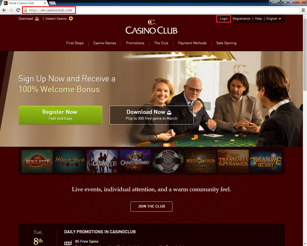 Casinoclub Login