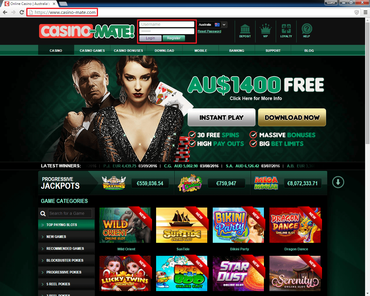 Big on bets casino login