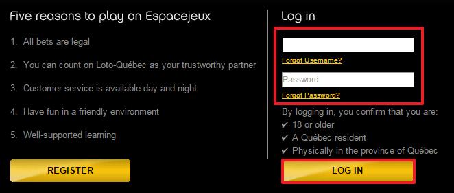 Espacejeux login 2