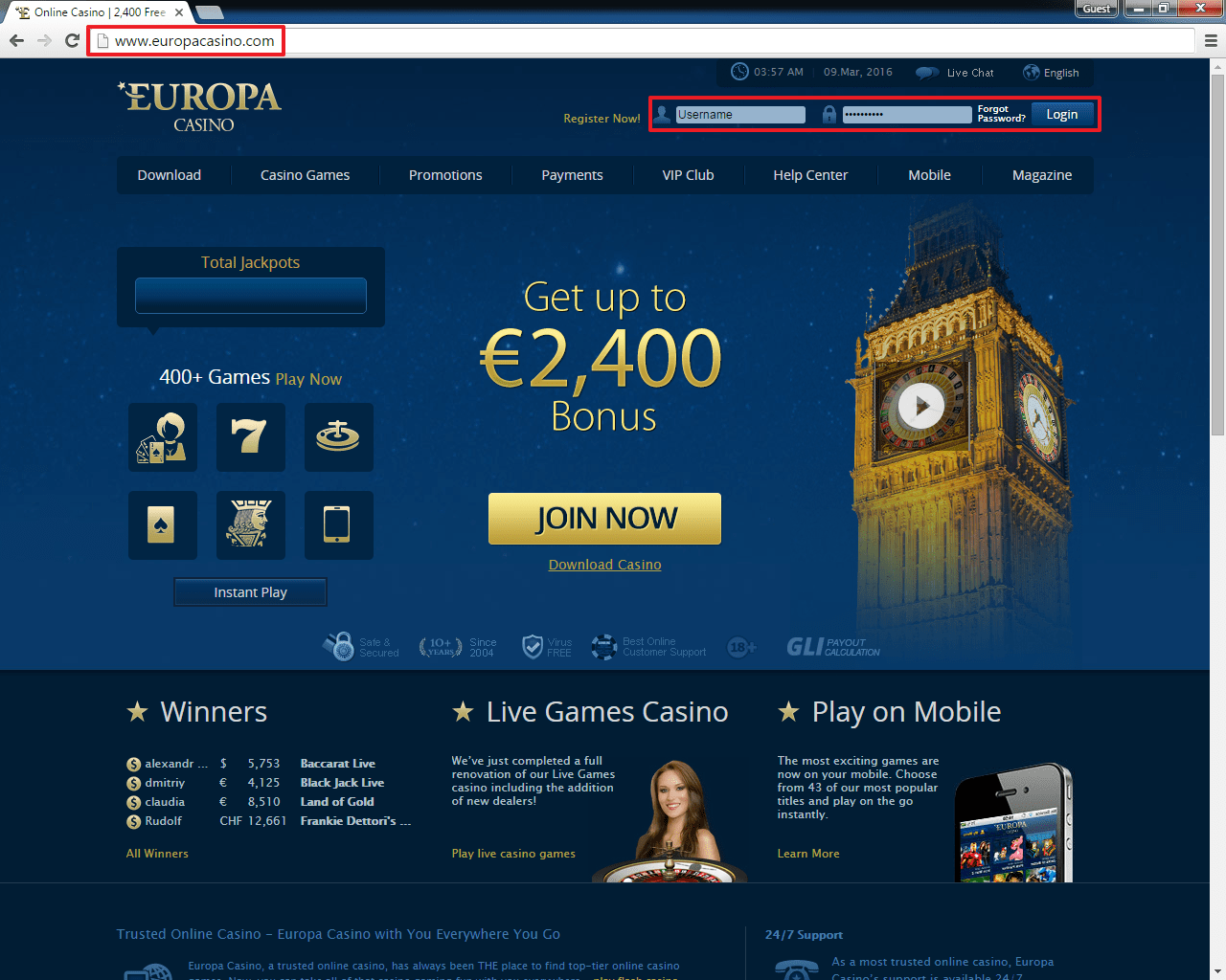 europa casino online casino and gaming