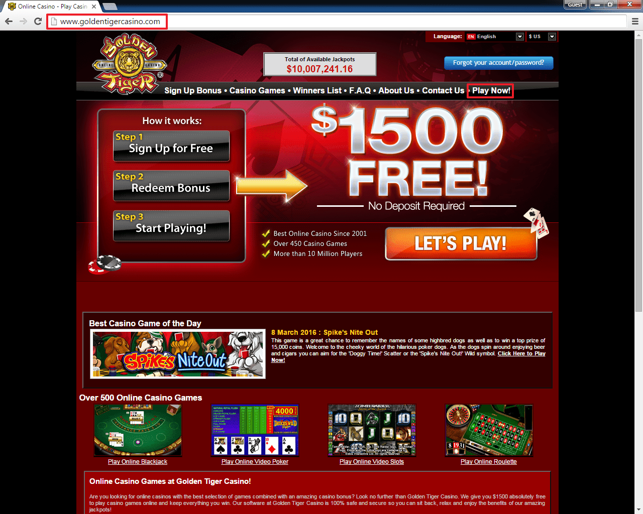 golden tiger casino 1500€ gratis