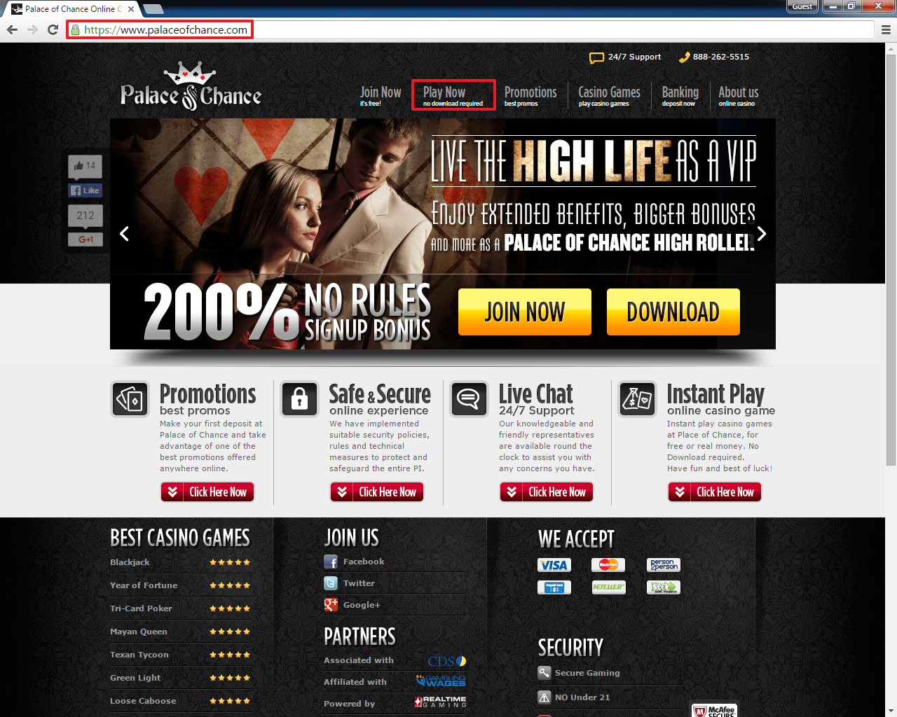 palace of chance online casino instant play