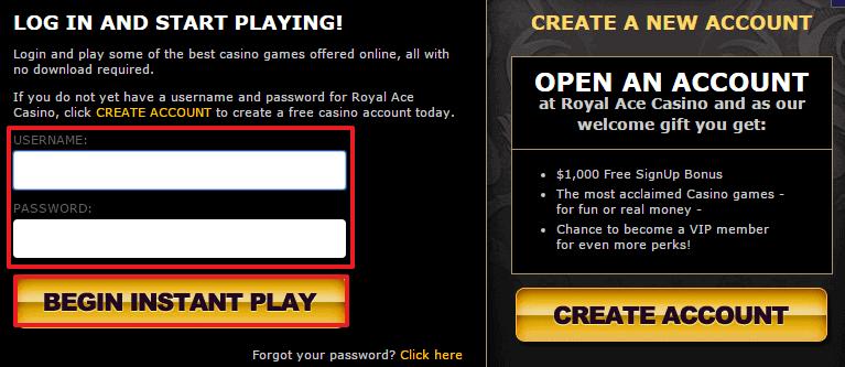 Royal Ace Casino login 3