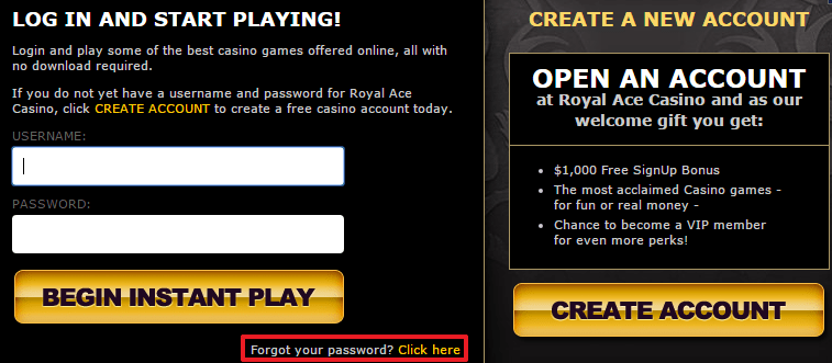 Royal Ace Casino login 4