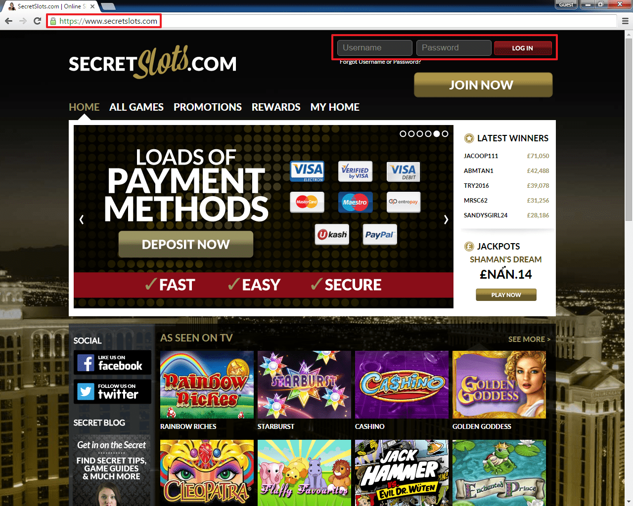 Secret Slots login