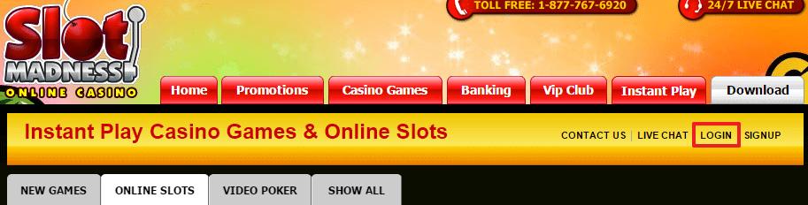 Slot Madness Casino login 2