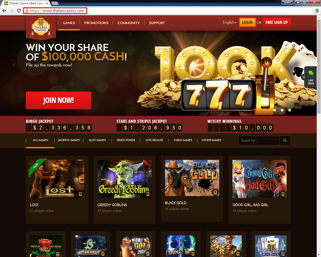Thebes Casino Code
