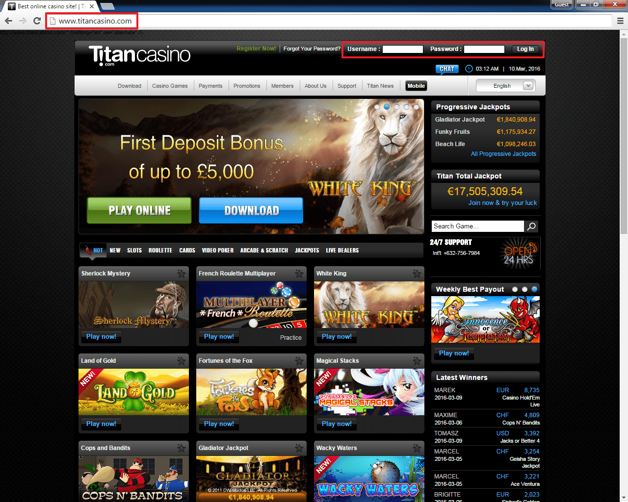 titan casino download