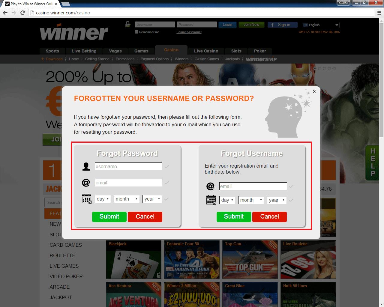 winner casino login