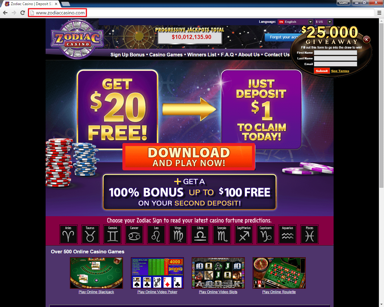 zodiac casino download