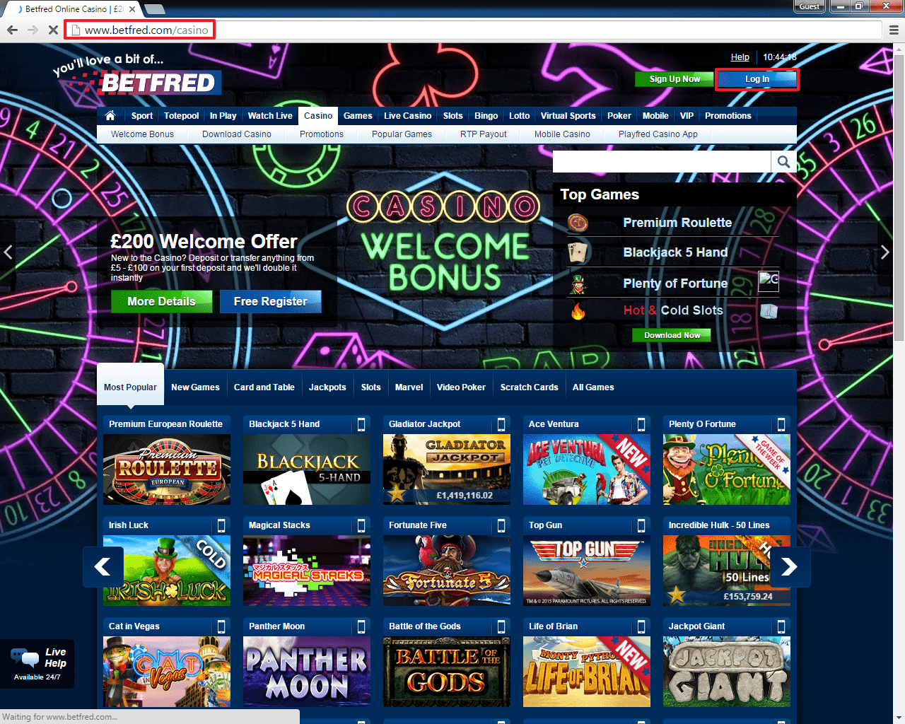 Betfred Casino Login