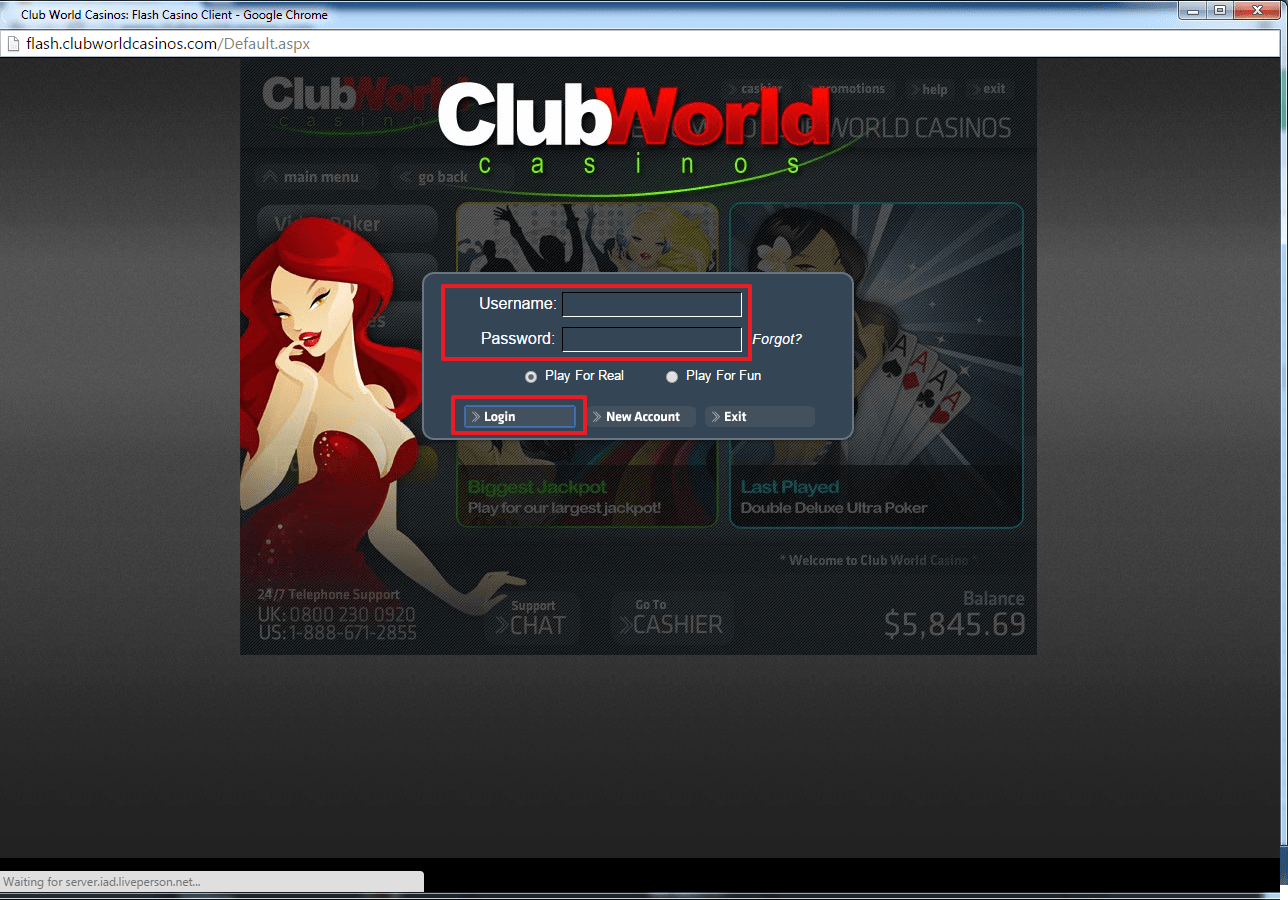 Club World casino login 2