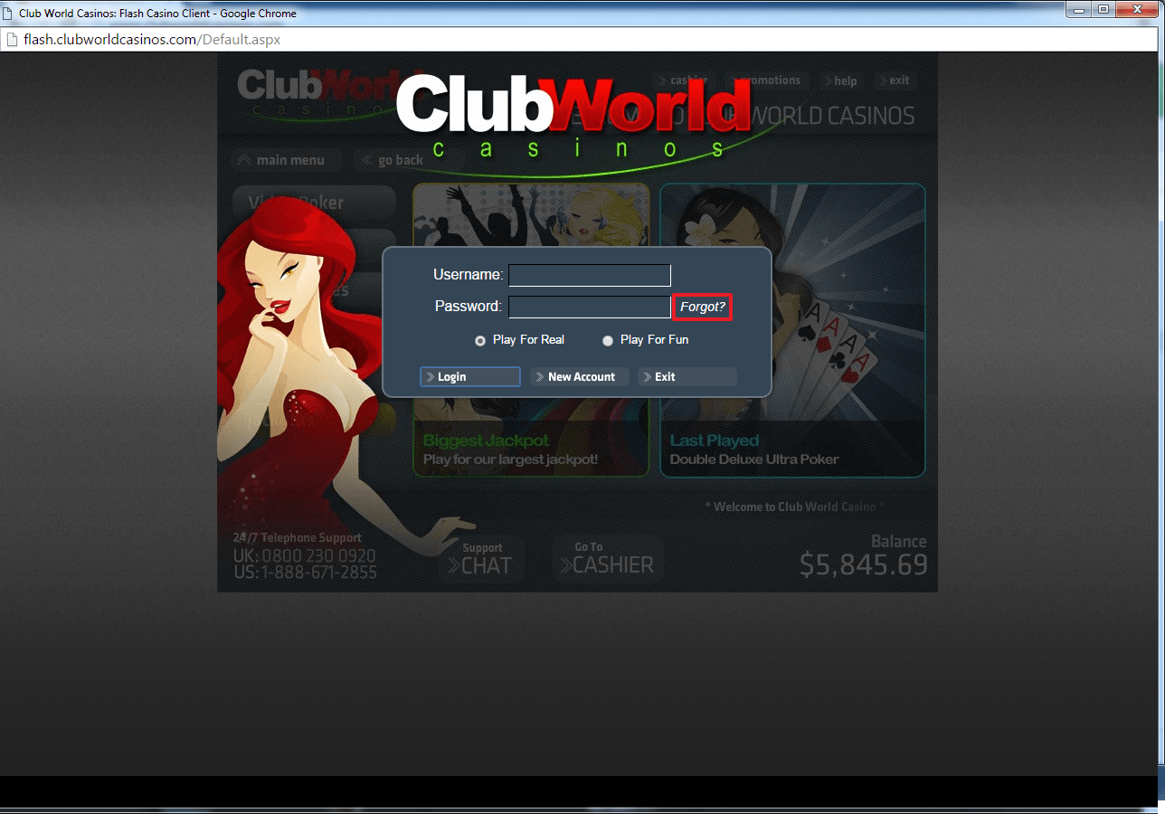 Club World casino login 3