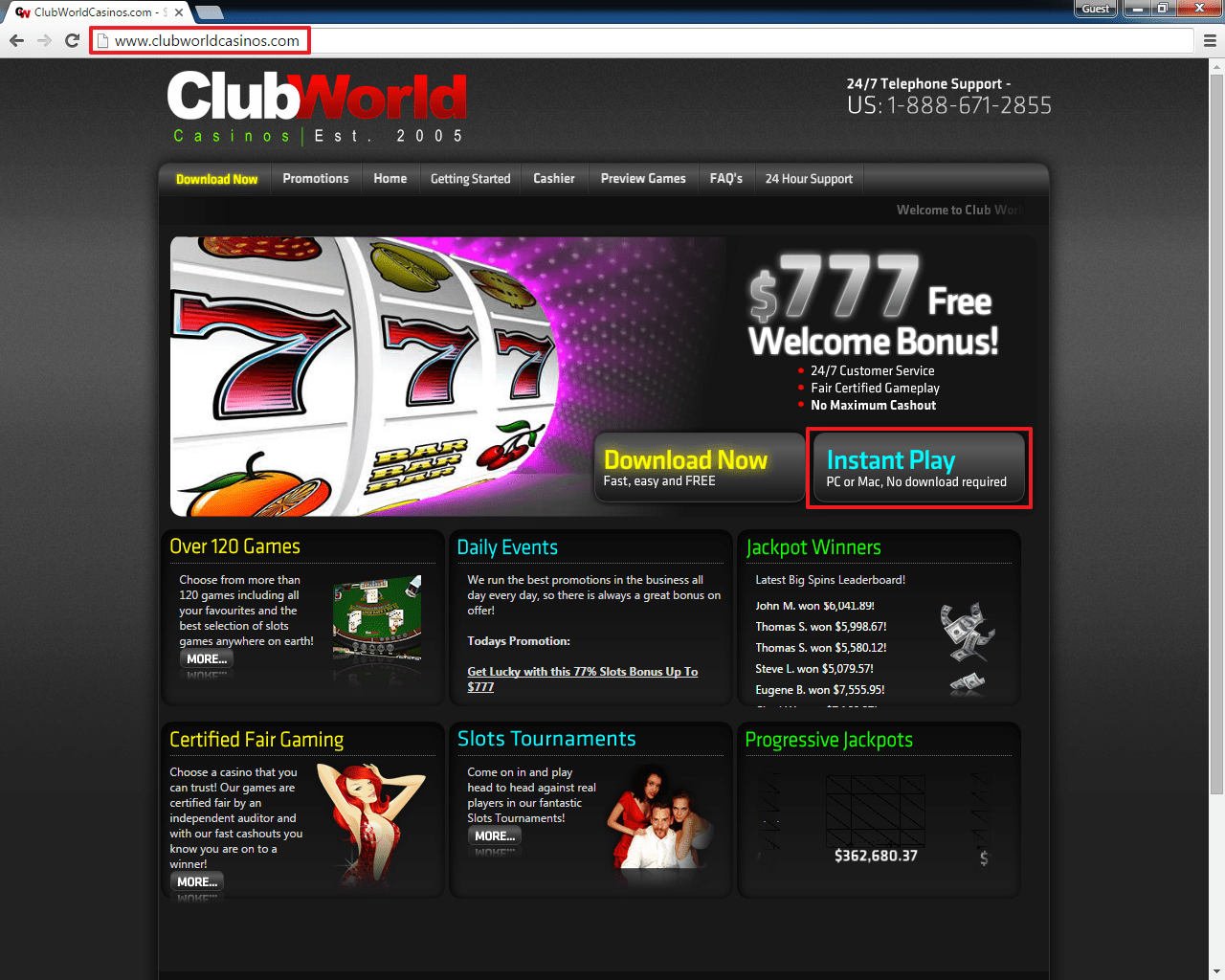 Club World casino login