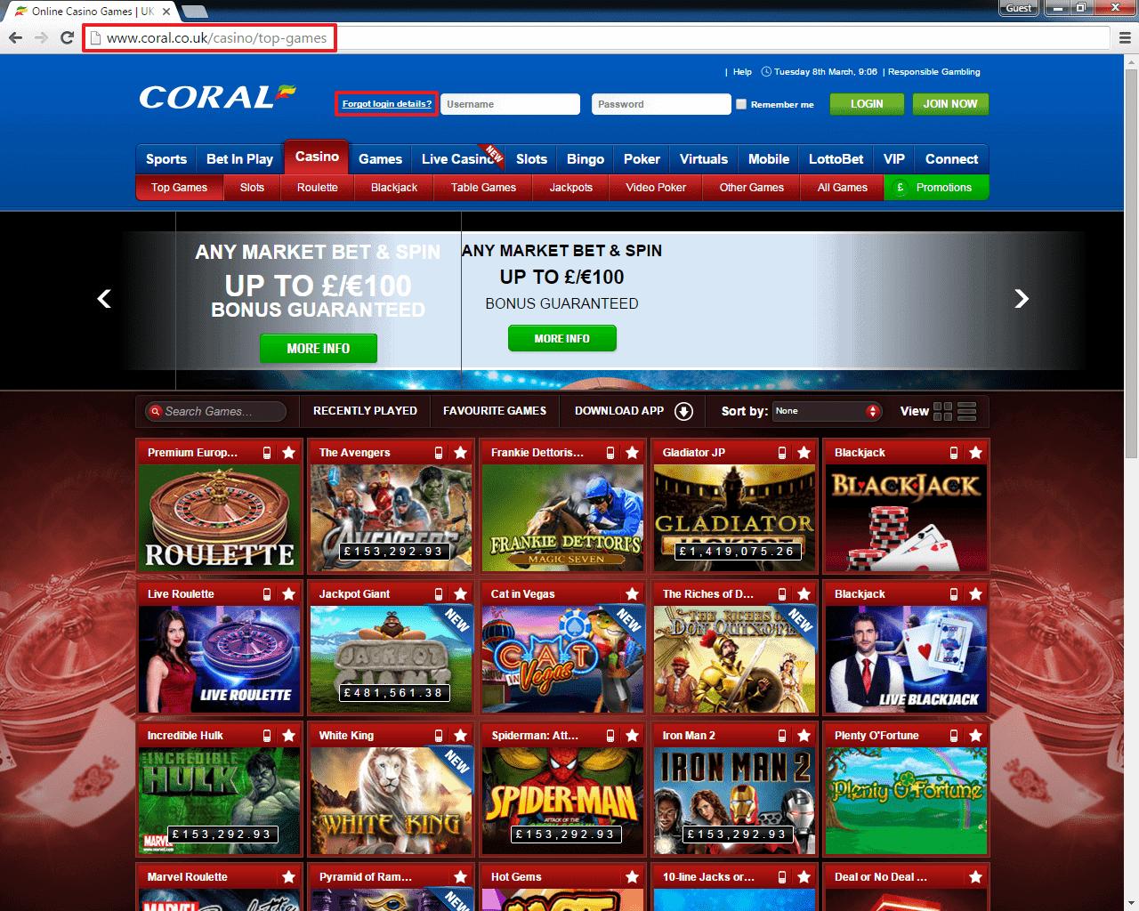 Coral Casino Login