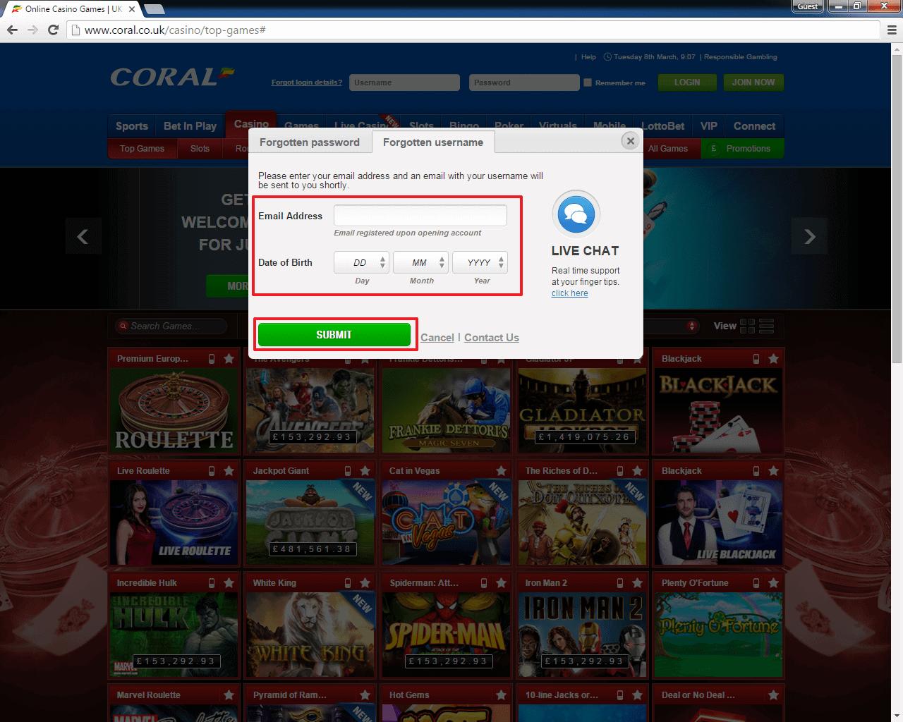 Coral Casino login 4