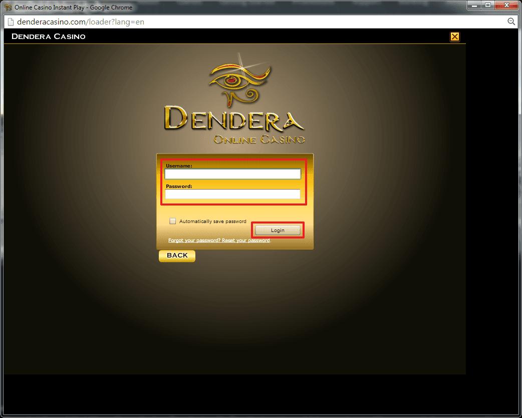 Dendera Casino login 4