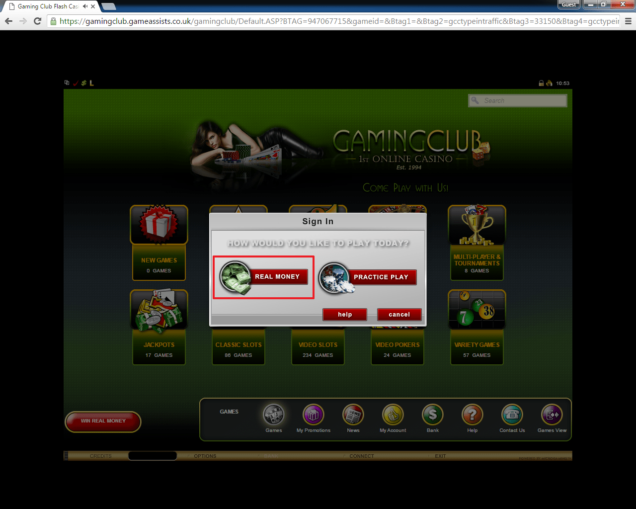 Gaming Club casino login 2