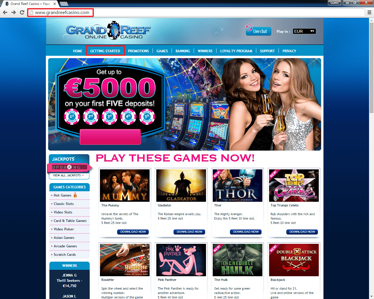 Grand Reef casino login