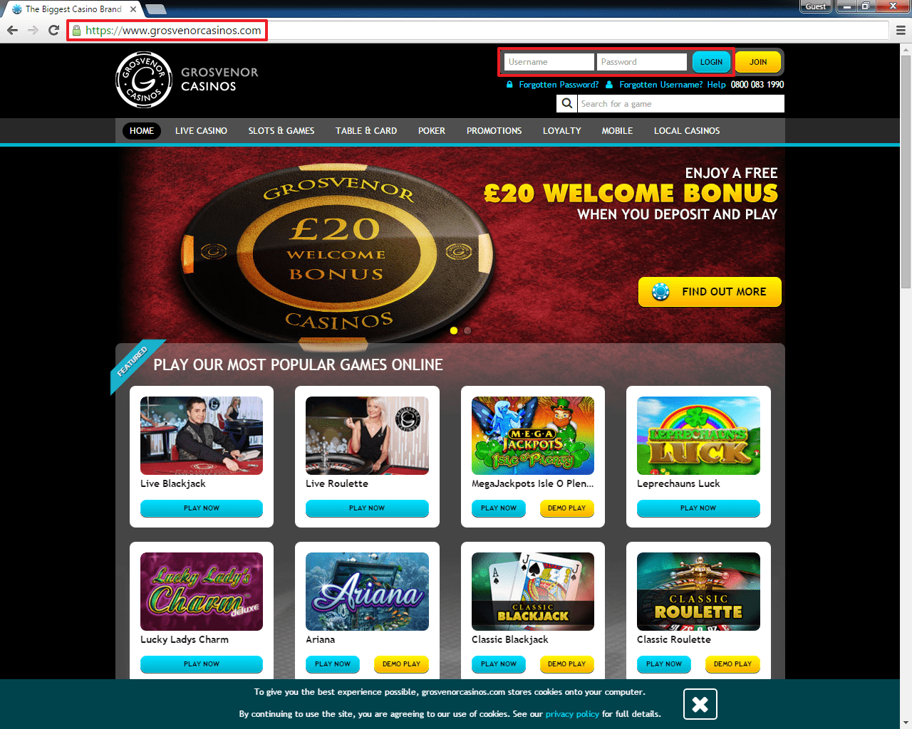 Grosvenor casino login