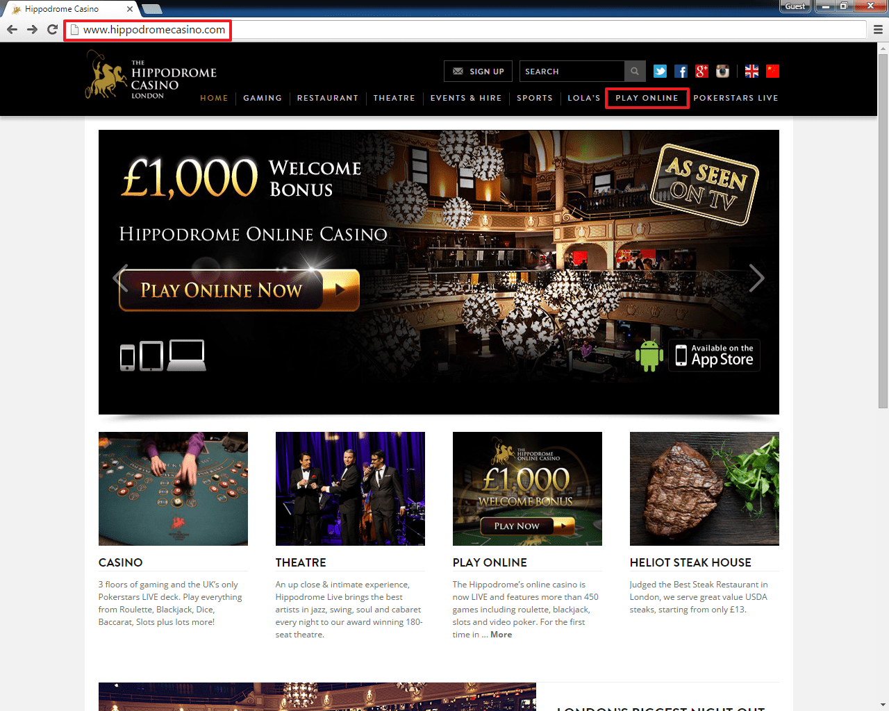 Hippodrome casino login