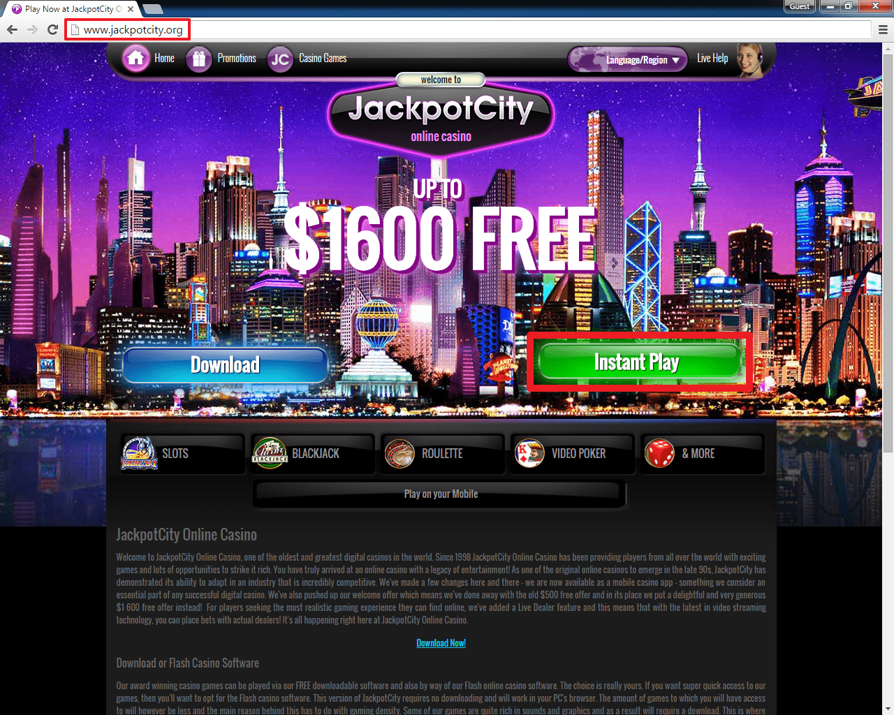 jackpot city casino instant play
