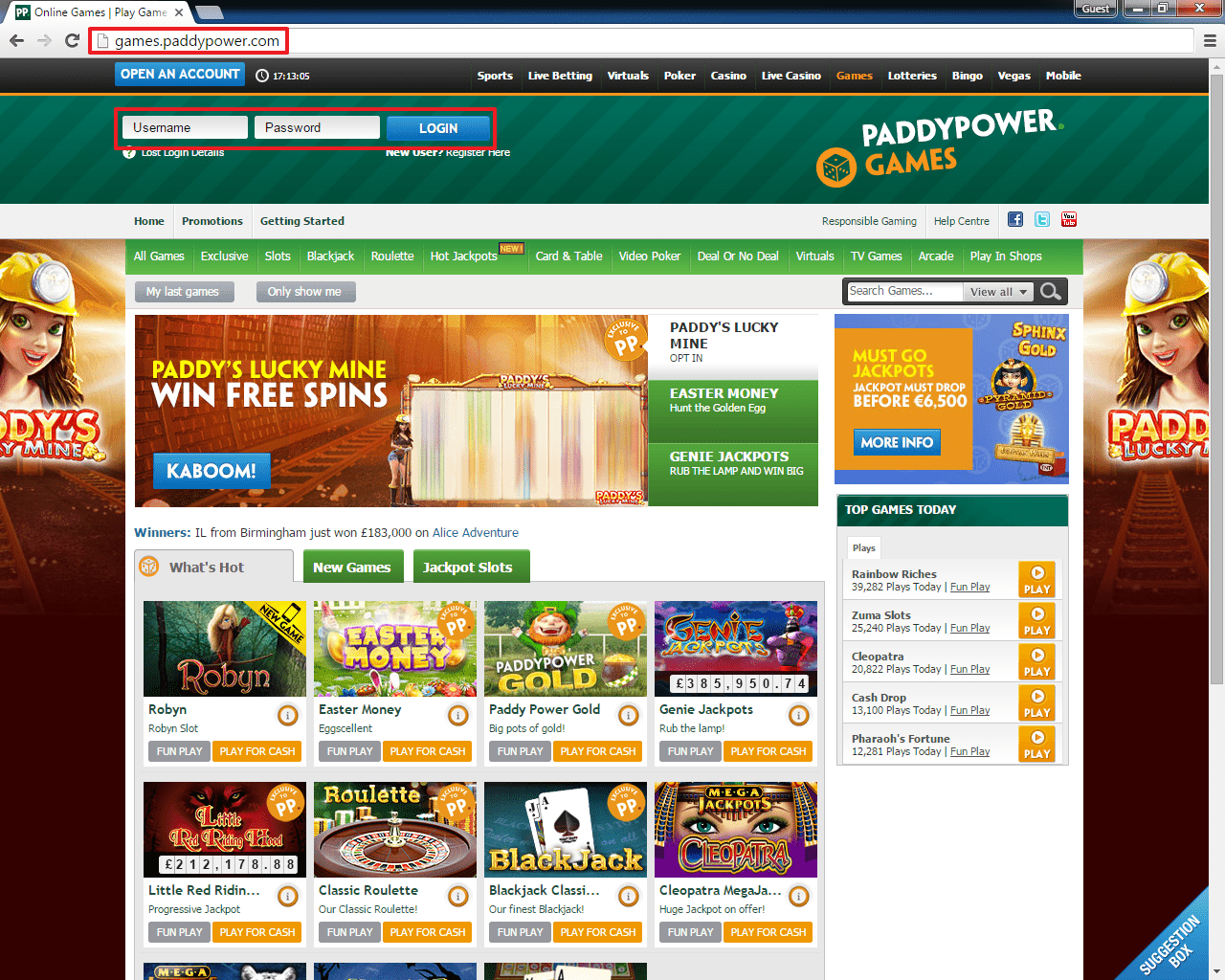 Paddy Power Games login