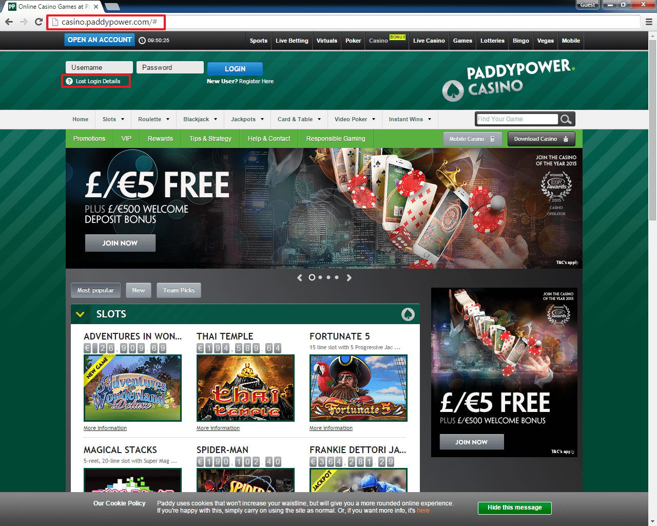 Paddy Power casino login 2