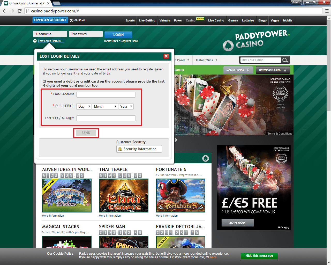 Paddy Power casino login 3