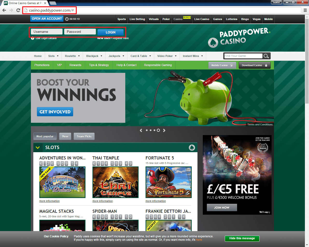 paddy power casino login