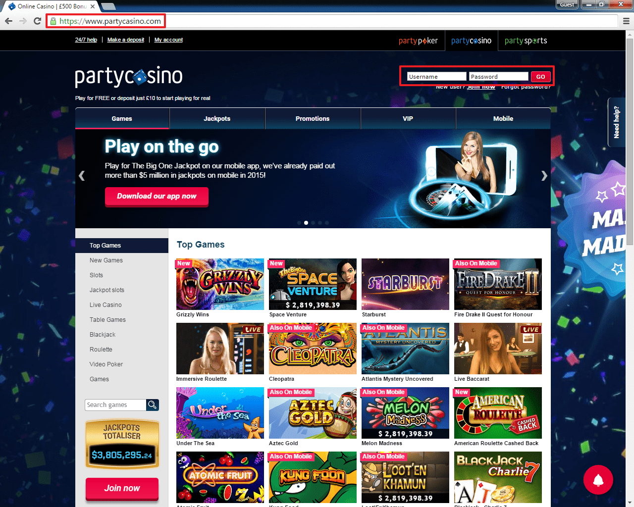 Party casino login