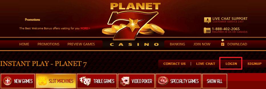 Planet 7 Casino login 2