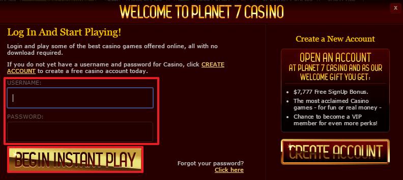 Planet7casino.Com Login