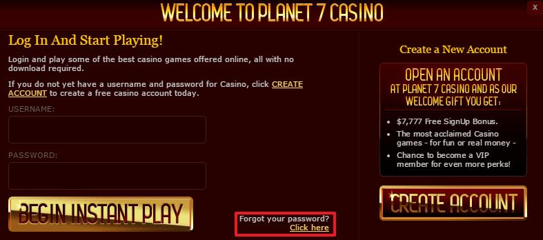 Planet 7 Casino login 4