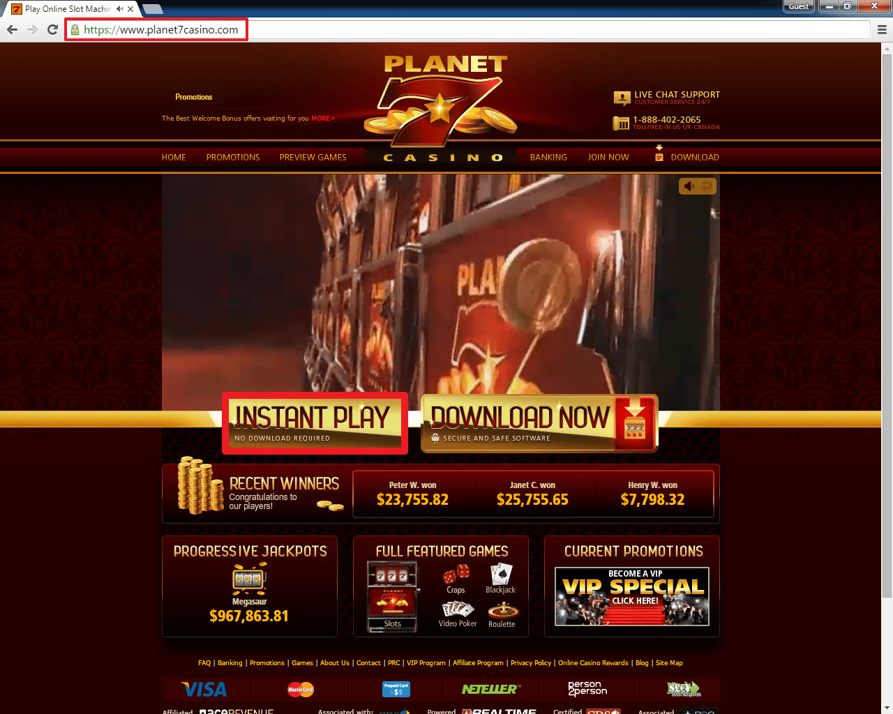 web play planet 7 casino