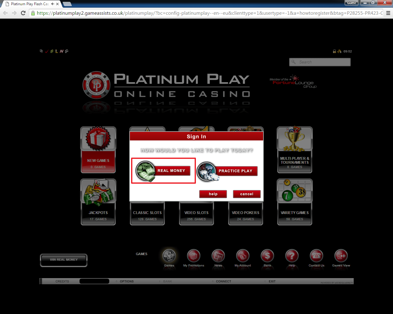 platinum play casino sign in