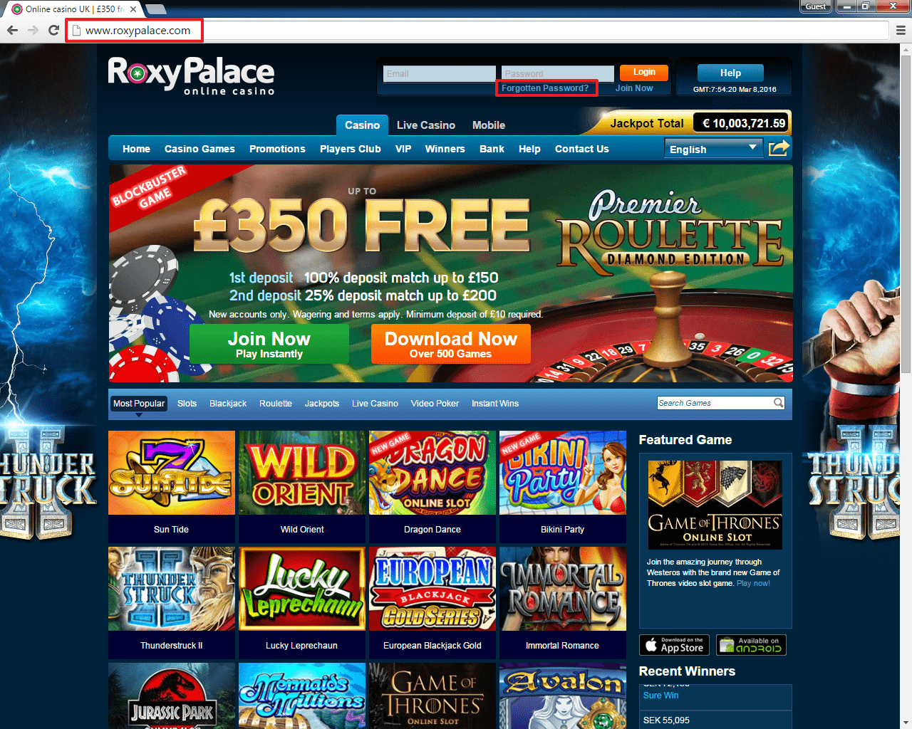 Roxy Palace casino login 2