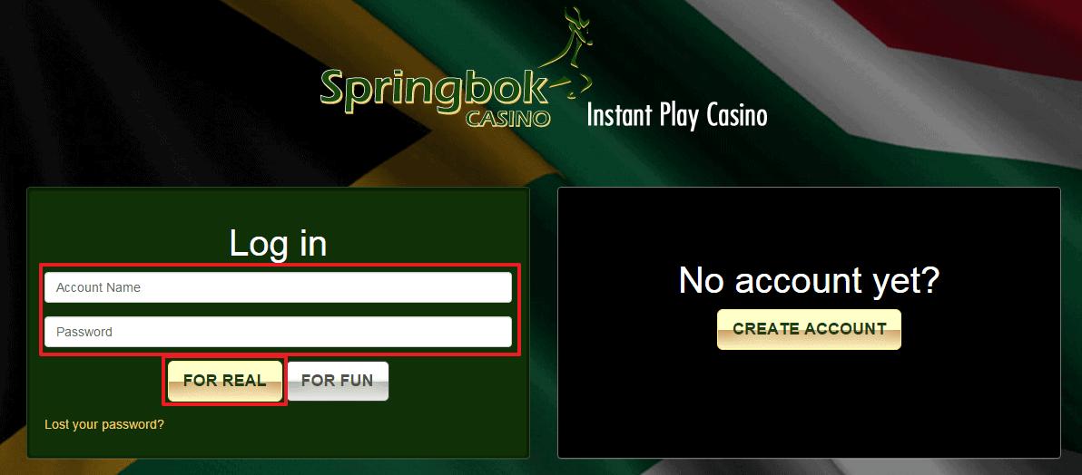 Springbok Casino login 2