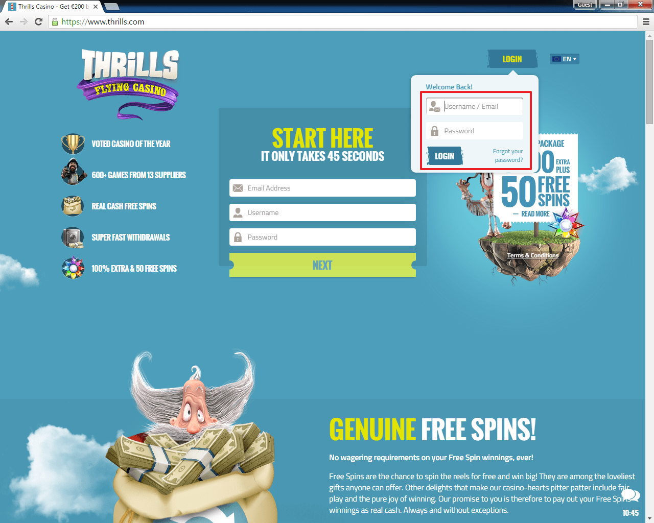 Thrills casino login 2