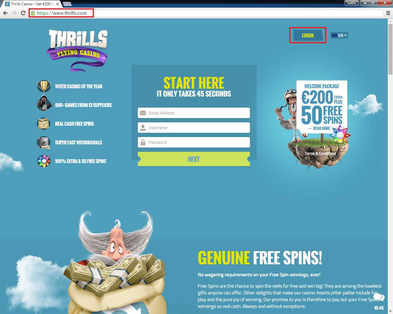 Thrills casino login